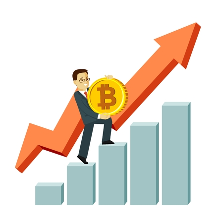 Cryptocurrency concept with man and gold coin. Young businessman with big bitcoin sign goes on the steps of the graph