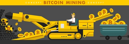 Cryptocurrency concept with businessman miner and coins. Young man with mining equipment working in bitcoin mine