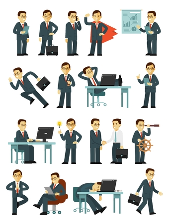Business man in situations office with gestures and actions