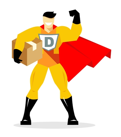 Delivery concept with superman. Superhero courier holding box. Vector illustration in flat style, isolated on white background. Ilustração