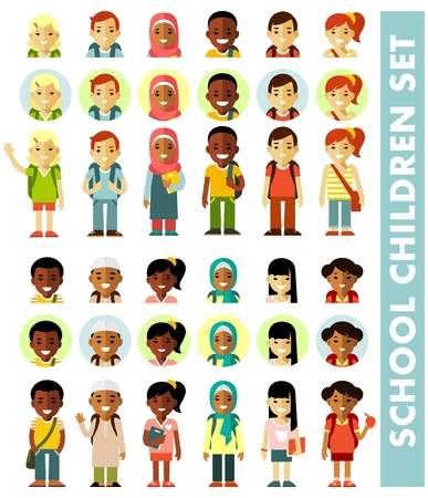 Different school children avatars set in flat style. Multicultural school kids icons group isolated on white background