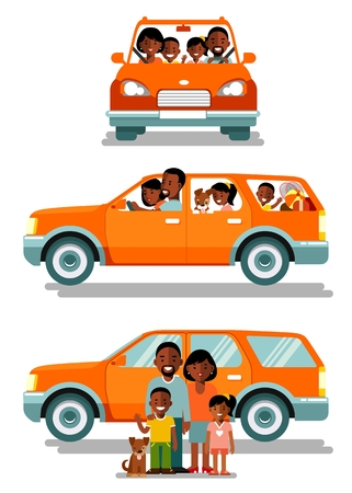 Happy african american ethnic family traveling by car in different views front and side. People set father, mother and children sitting in automobile and standing together. Vector illustration in flat style isolated on white background.