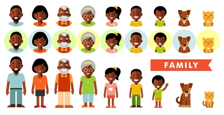 Set of african american ethnic family members in flat style. Happy family of seven african american ethnic people and two pets, full length and avatars, isolated on white background Illustration