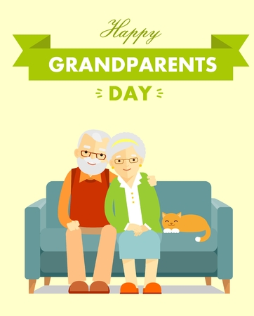 Happy grandparents day poster vector illustration
