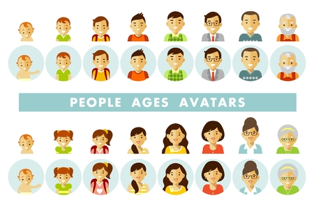 Set of people avatars at different ages vector illustration