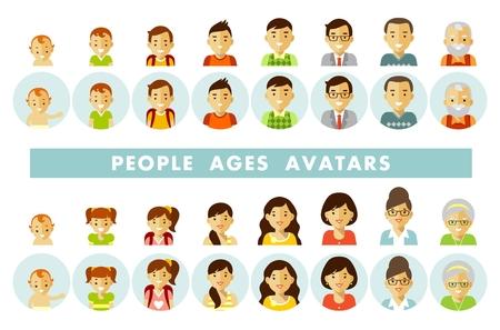 Zestaw ilustracji wektorowych ludzi w różnym wieku