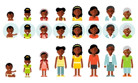 Set of african american ethnic people generations avatars at different ages. Woman african american ethnic aging icons - baby, child, teenager, young, adult, old. Full length and avatars. Vector illustration in flat style isolated on white background.