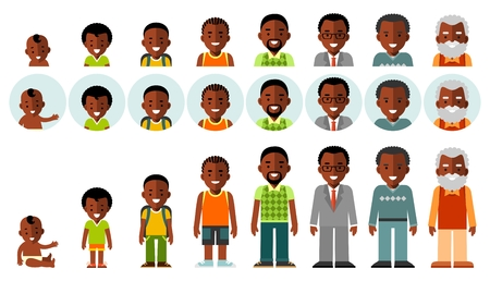 Man african american ethnic aging icons - baby, child, teenager, young, adult, old. Full length and avatars. Vector illustration in flat style isolated on white background. Ilustração