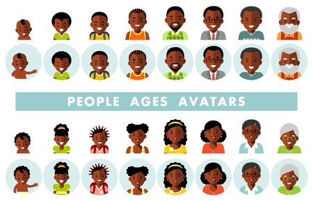 Man and woman african american ethnic aging icons - baby, child, teenager, young, adult, old. Vector illustration in flat style isolated on white background.