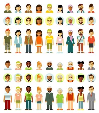 Personnages de personnes debout ensemble ensemble. Différentes icônes de personnes multiculturelles souriantes ethniques. Pleine longueur et avatars. Illustration vectorielle dans un style plat isolé sur fond blanc