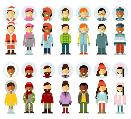 People winter characters stand set and avatars in flat style isolated on white background. Different winter people smiling characters icons isolated on white background