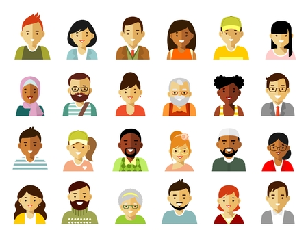 People characters avatars set. Different ethnic smiling multicultural persons icons. Vector illustration in flat style isolated on white background Vettoriali
