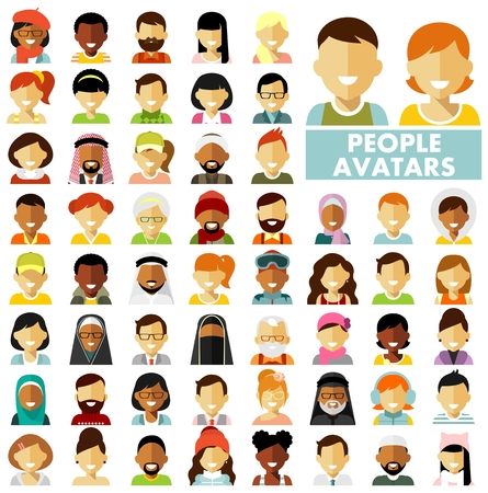 People characters avatars set. Different ethnic smiling multicultural persons icons. Vector illustration in flat style isolated on white background Çizim