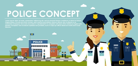 Police concept with cops in flat style. Young policeman and policewoman, city police department building, police car. Ilustração