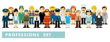 People occupation characters set in flat style isolated on white background. Different people professions characters stand in a row Ilustração