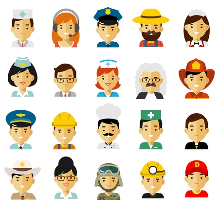Different people professions characters icons. Workers and businessmans.