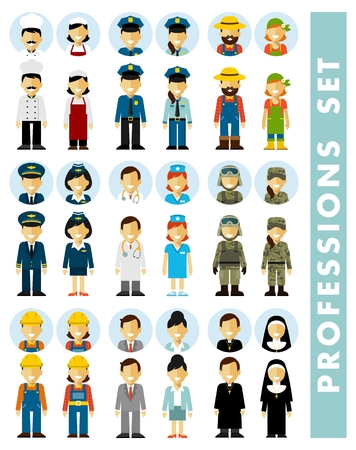 People occupation characters couples set in flat style isolated on white background. Different people professions characters icons. Full length and avatars Illustration