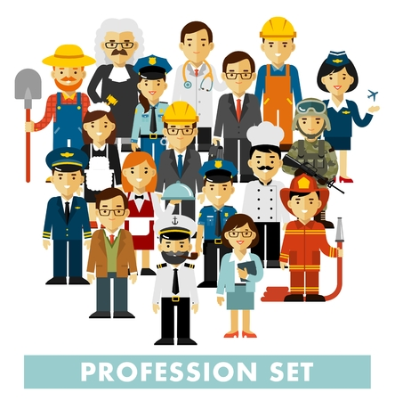 Different people professions characters standing together. Workers and staff.