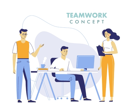 Teamwork concept with young men and woman working together