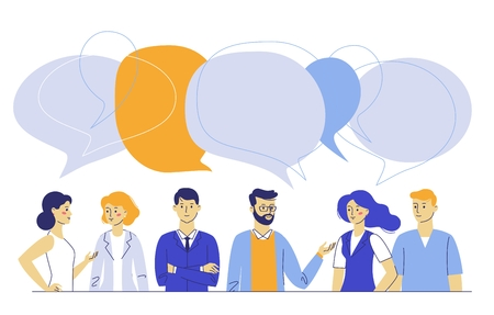 Business people group and speech bubbles. Meeting and brainstorming. Ilustração