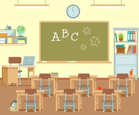 Modernes Klassenzimmer-Interieur. Vektorillustration im flachen Stil