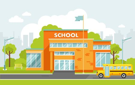 Education concepy with school building in flat style.