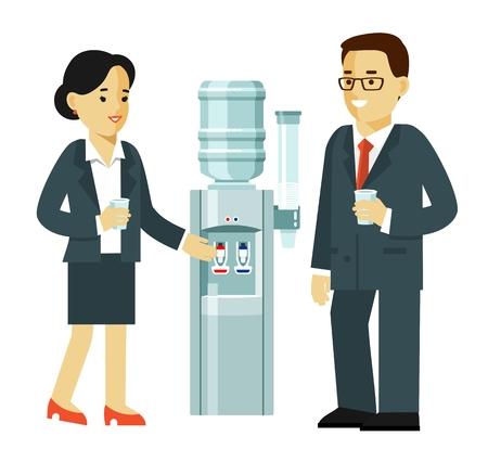 Concept de temps de pause - jeune homme et femme parlant. Illustration vectorielle dans un style plat isolé sur fond blanc Vecteurs