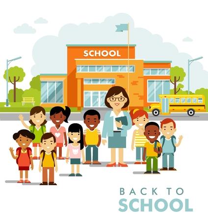 Bâtiment scolaire et écoliers dans un style plat.
