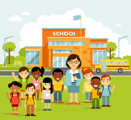 School building and school children in flat style. Modern school, college building on city street background, with bus and front yard. Group of kids and young teacher woman.