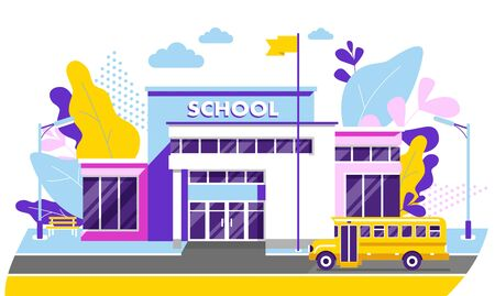 Trendy school, college building on city street background, with bus and front yard.