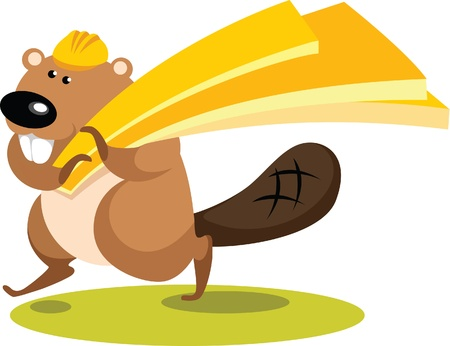 Illustration in cartoon style - Beaver with planks on white background  Vector