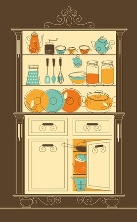 kitchen utensils: Vector illustration - Kitchen cupboard in old-fashion style