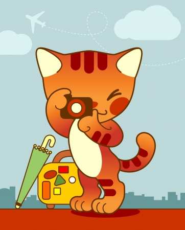 Lovely red cat in a cartoon style keeps the camera in the paws  The image of the traveler and photographer  Vector
