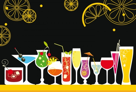 Set of Cocktails in Retro-Styled Vector