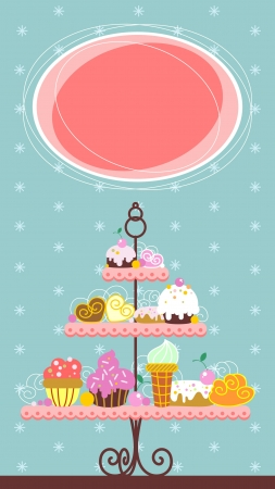 Desserts on a tray in a sketchy style Vector