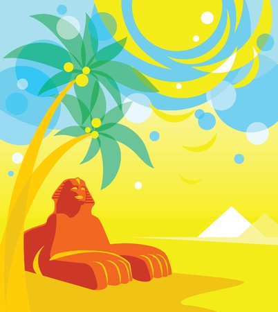 Sunny Landscape with Sphinx and Palms in Cartoon-Style Vector