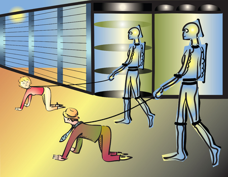 humanoid: Human leash by humanoid robots, vector illustration Illustration