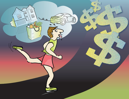 breathless: Running  out of money, vector illustration