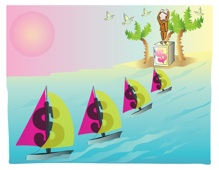 Tax haven, vector illustration Çizim