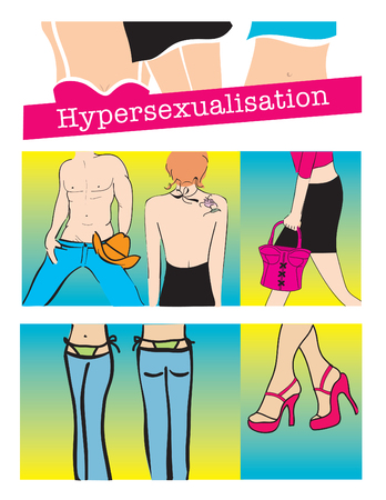 cleavage: Hypersexualization, vector illustration