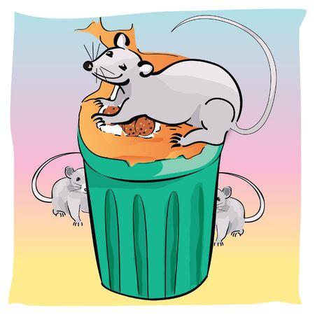 fiambres: familia de ratones come, ilustración vectorial