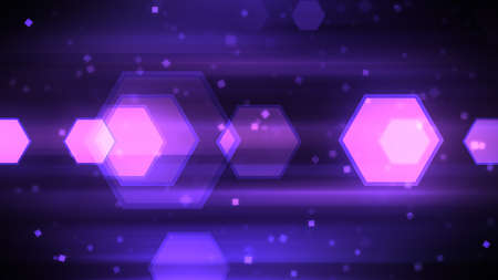 Technology Background with abstract particles and hexagon shapes.