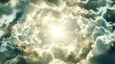 Worship and Prayer based cinematic clouds and light rays background useful for divine, spiritual, fantasy concepts. Stock Photo