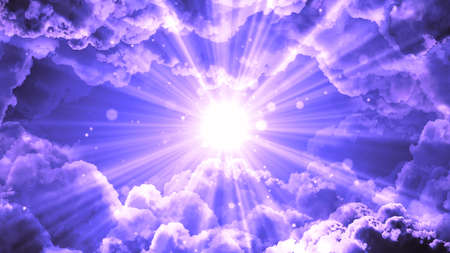 Worship and Prayer based cinematic clouds and light rays background useful for divine, spiritual, fantasy concepts. Standard-Bild