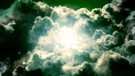 Worship and Prayer based cinematic clouds and light rays background useful for divine, spiritual, fantasy concepts. Фото со стока - 108048447