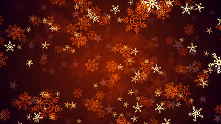 Background of falling snowflakes which can be useful for Christmas,Holidays and New Year designs and presentation.  seamlessly loop-able Background animation. Stock Photo