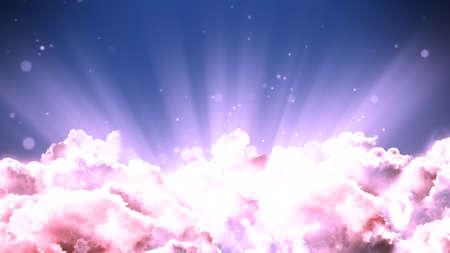 Nubi cinematografiche basate su culto e preghiera e ciclo di sfondo di raggi di luce in risoluzione. Utile per concetti divini, spirituali e fantastici.