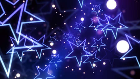 Glowing stars and glittering particles for celebration and parties and events. Stock Photo