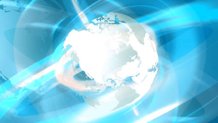 News Globe with rotating earth in white color in abstract rings background