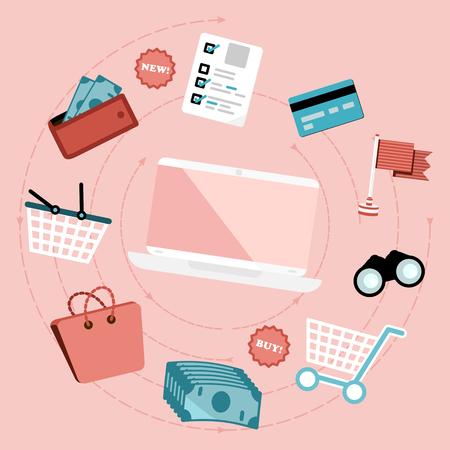 E-commerce concept. Flat design web icons Illustration